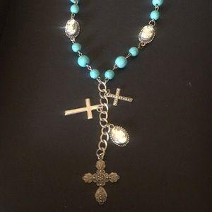 RARE: Turquoise Cross Triple Goddess Necklace